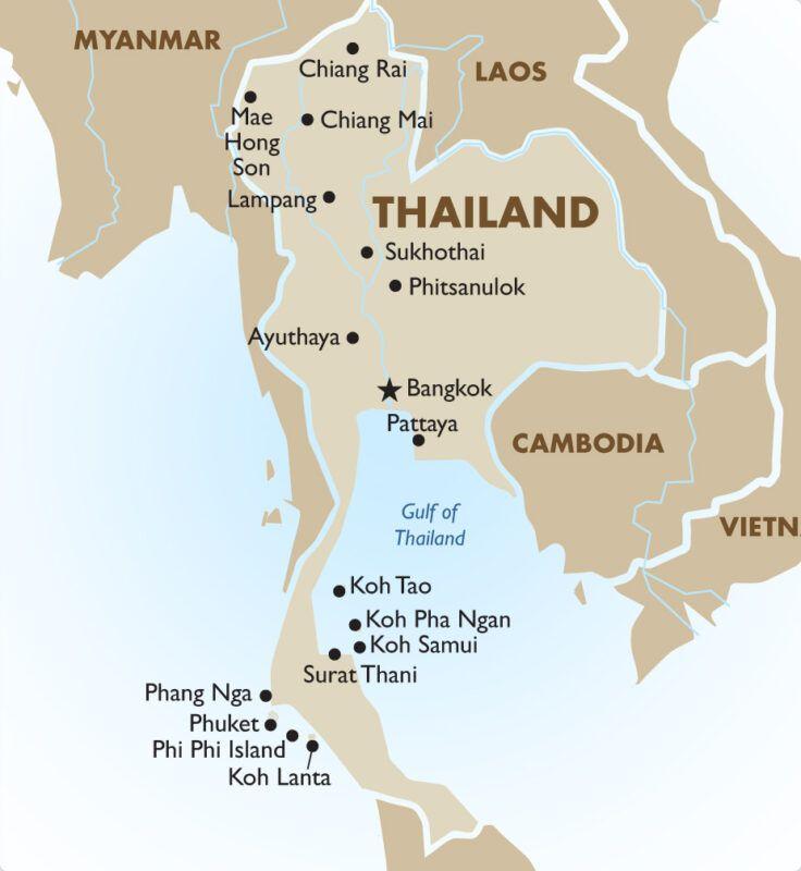Mappa della Thailandia - quando andare a Bangkok e Isole Gili