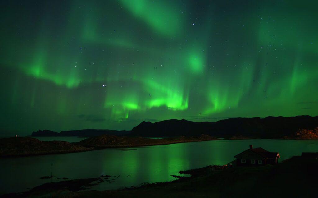 Aurora boreale a Capo Nord.