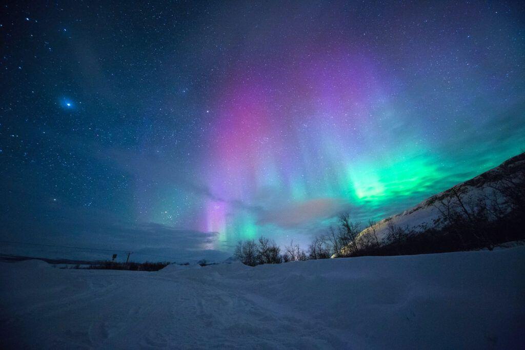 Aurora boreale Tromso, Norvegia.
