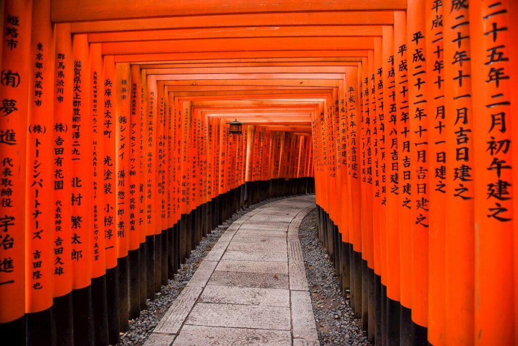 I famosi torii del Tempio di Fushimi Inari a Kyoto.
